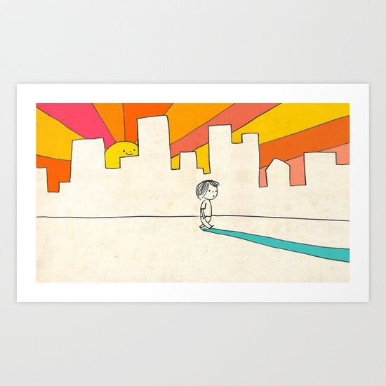 if i had eyes at the back of my head, i wouldn't have to miss the sunset on my way home Art Print