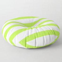Green Stripes on White Background Floor Pillow