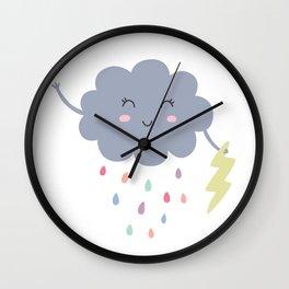 happy little rain cloud Wall Clock