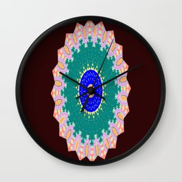 Lovely Healing Mandala  in Brilliant Colors: Brown, Pink, Sunset Orange, Teal, Cream, and Royal Blue Wall Clock