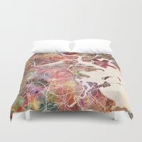 boston Duvet Covers featuring Boston by MapMapMaps.Watercolors