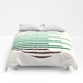 Mid Century Modern Minimalist Circle Round Photo Aquamarine Teal Green Staggered Stripe Pattern Comforters