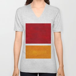 Burnt Red Yellow Ochre Mid Century Modern Abstract Minimalist Rothko Color Field Squares Unisex V-Neck