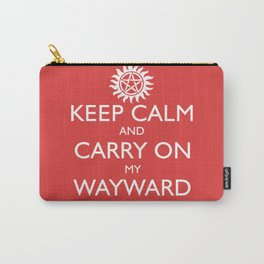SUPERNATURAL KEEP CALM AND CARRY ON MY WAYWARD SON - White Text Carry-All Pouch
