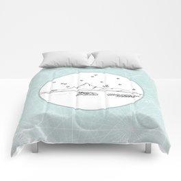 Bora Bora Island, French Polynesia Skyline Illustration Drawing Comforters