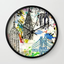New York City Buildings Wall Clock