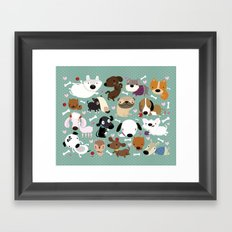 Dog pattern Framed Art Print
