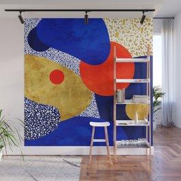 Terrazzo galaxy blue night yellow gold orange Wall Mural