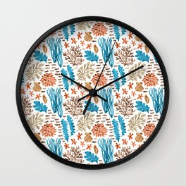 Coral Reef Watercolor Pattern- Teal Wall Clock