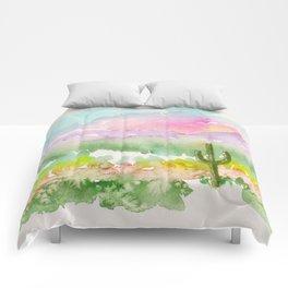 Lone Saguaro Cactus Comforters
