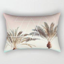 Modern tropical palm tree sunset pink blue beach photography white geometric triangles Rectangular Pillow