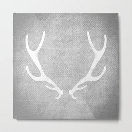 White & Grey Antlers Metal Print