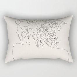 Woman with Flowers Minimal Line I Rectangular Pillow
