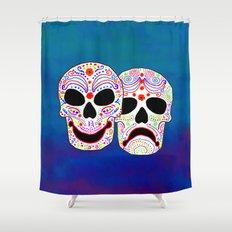 Comedy-Tragedy Colorful Sugar Skulls Shower Curtain