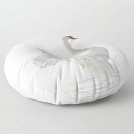WHITE ON WHITE-BEAUTIFUL SWAN Floor Pillow