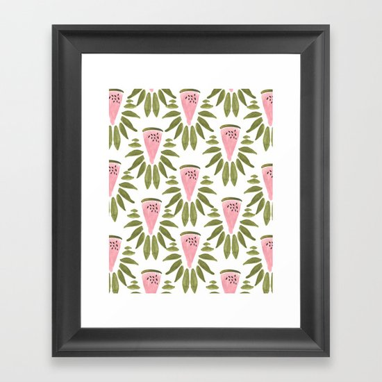 Watermelon and Leaves Framed Art Print