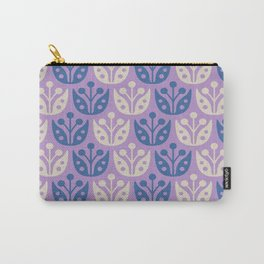 Mid Century Modern Flower Pattern Lavender and Blue 112 Carry-All Pouch