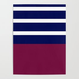 Summer Patio Perfect, Brown, White, Navy, Blu Poster