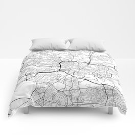 Glasgow Map, Scotland - Black and White Comforters