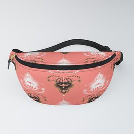 Ornament medallions - Black and white fractals on living coral color Fanny Pack