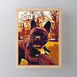 french bulldog basketball vector art late sunset Framed Mini Art Print