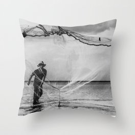 Casting the net Throw Pillow
