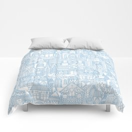gingerbread town blue Comforters