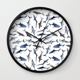 SHARKS PATTERN (WHITE) Wall Clock