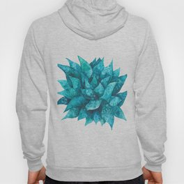 Watercolor spiky succulent - turquoise Hoody