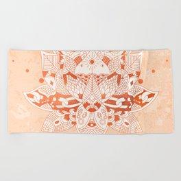 Happiness Mandala Metallic Rose Gold Beige Beach Towel