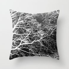 White on Black Trees Throw Pillow