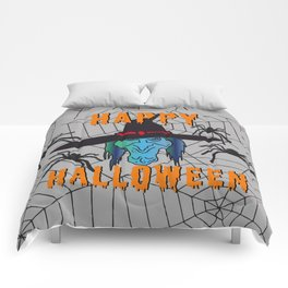 turquoise Witch Happy Halloween Comforters