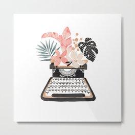 Floral Typewriter Metal Print