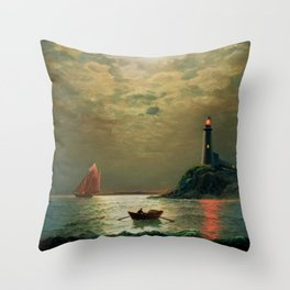 A New England Lighthouse Under the Silver Moon by James Gale Tyler Throw Pillow