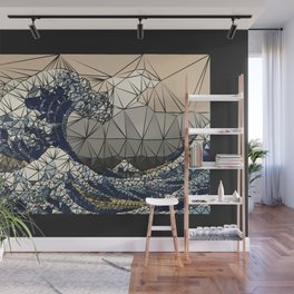 Lowpoly - The great wave of K Wall Mural