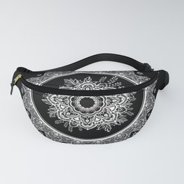 Bohemian Lace Paisley Mandala White on Black Fanny Pack
