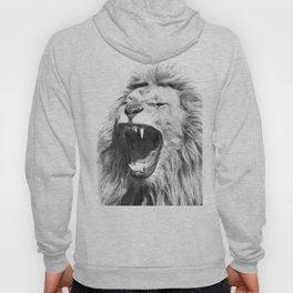 Black White Fierce Lion Hoody