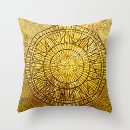 Golden Solar Symbol Throw Pillow