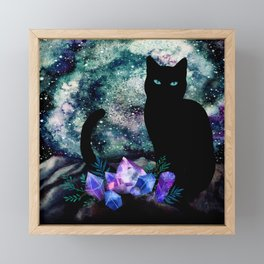 The Cat With Aquamarine Eyes And Celestial Crystals Framed Mini Art Print