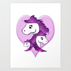Unicorn Family in pink Art Print