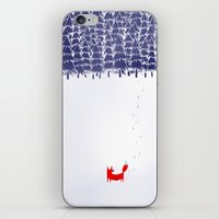 blue iPhone & iPod Skins featuring Alone in the forest by Robert Farkas