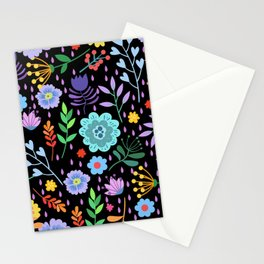 Cute colorful mixed flowers pattern Stationery Cards