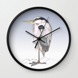 Blue heron Wall Clock