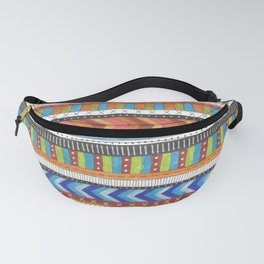 brightly colored patterned stripes Fanny Pack