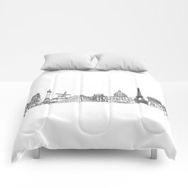 Paris Landmarks by the Downtown Doodler Comforters