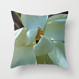 Blue Magnolia Throw Pillow