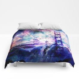 ultra violet golden gate bridge Comforters