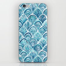 NAVY LIKE A MERMAID Fish Scales Watercolor iPhone & iPod Skin