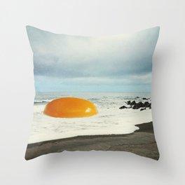 Beach Egg - Sunny side up Throw Pillow