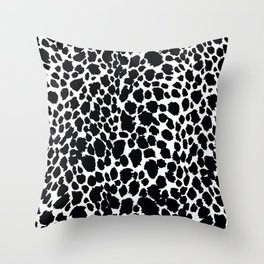 Animal Print Cheetah Black and White Pattern #4 Throw Pillow